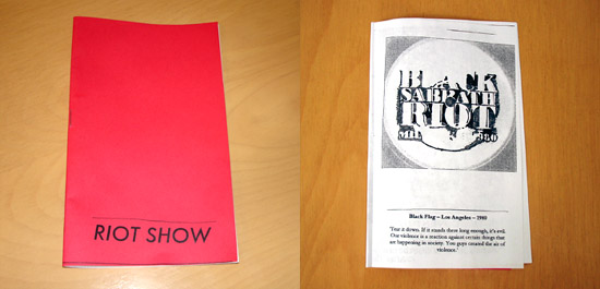 Riot Show Zine Front Cover